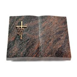 Livre/Englisch-Teak Kreuz/Rose (Bronze)
