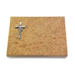 Grabtafel Indisch Black Pure Kreuz/Ähren (Alu)