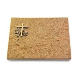 Grabtafel Indisch Black Pure Kreuz 1 (Bronze)