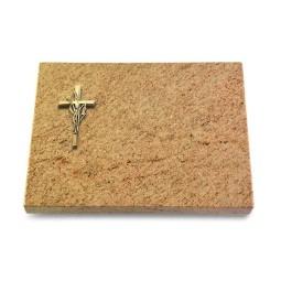 Grabtafel Indisch Black Pure Kreuz/Ähren (Bronze)