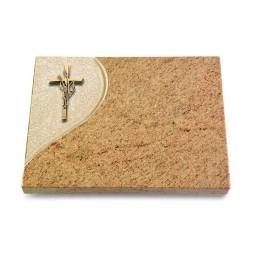 Grabtafel Indisch Black Folio Kreuz/Ähren (Bronze)