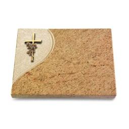 Grabtafel Indisch Black Folio Kreuz/Rose (Bronze)