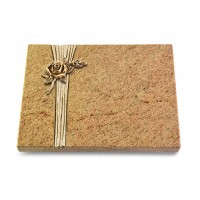 Grabtafel Indisch Black Strikt Rose 1 (Bronze)