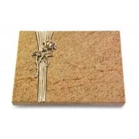 Grabtafel Indisch Black Strikt Rose 2 (Bronze)