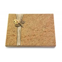 Grabtafel Indisch Black Strikt Rose 3 (Bronze)