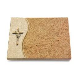 Grabtafel Indisch Black Wave Kreuz/Ähren (Bronze)