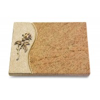 Grabtafel Indisch Black Wave Rose 2 (Bronze)