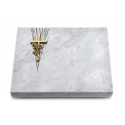 Grabtafel Kashmir Delta Kreuz/Rose (Bronze)