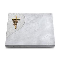 Grabtafel Kashmir Folio Kreuz/Rose (Bronze)