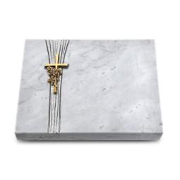 Grabtafel Kashmir Strikt Kreuz/Rose (Bronze)