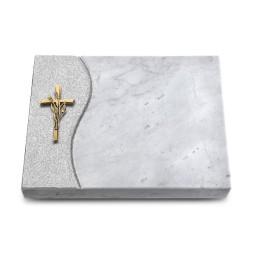 Grabtafel Kashmir Wave Kreuz/Ähren (Bronze)