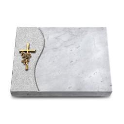 Grabtafel Kashmir Wave Kreuz/Rose (Bronze)