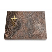 Grabtafel Orion Pure Kreuz/Rose (Bronze)