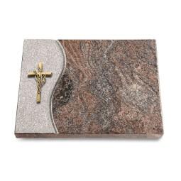 Grabtafel Orion Wave Kreuz/Ähren (Bronze)