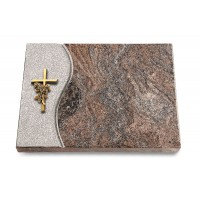 Grabtafel Orion Wave Kreuz/Rose (Bronze)