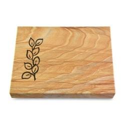 Grabtafel Omega Marmor Pure Blätter