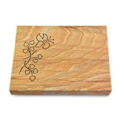Grabtafel Omega Marmor Pure Blume 3