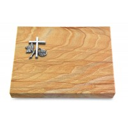 Grabtafel Omega Marmor Pure Kreuz 1 (Alu)