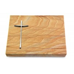 Grabtafel Omega Marmor Pure Kreuz 2 (Alu)