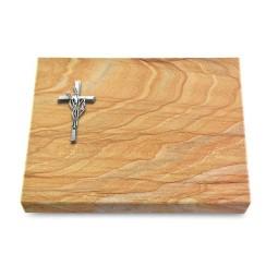 Grabtafel Omega Marmor Pure Kreuz/Ähren (Alu)