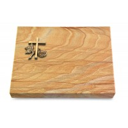 Grabtafel Omega Marmor Pure Kreuz 1 (Bronze)