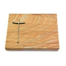 Grabtafel Omega Marmor Pure Kreuz 2 (Bronze)