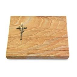Grabtafel Omega Marmor Pure Kreuz/Ähren (Bronze)