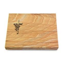 Grabtafel Omega Marmor Pure Kreuz/Rose (Bronze)
