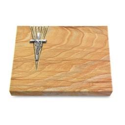 Grabtafel Omega Marmor Delta Kreuz/Ähren (Alu)