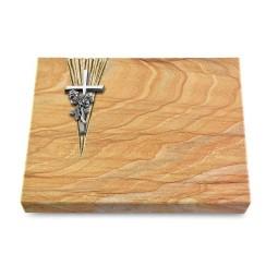 Grabtafel Omega Marmor Delta Kreuz/Rose (Alu)