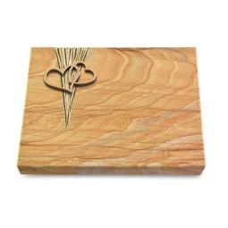 Grabtafel Omega Marmor Delta Herzen (Bronze)