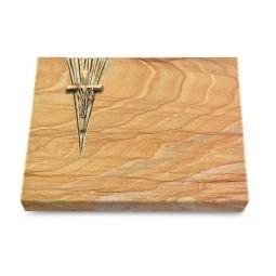 Grabtafel Omega Marmor Delta Kreuz/Ähren (Bronze)