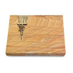 Grabtafel Omega Marmor Delta Kreuz/Rose (Bronze)