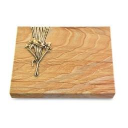 Grabtafel Omega Marmor Delta Lilie (Bronze)
