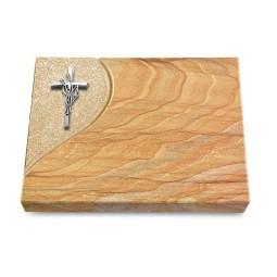 Grabtafel Omega Marmor Folio Kreuz/Ähren (Alu)
