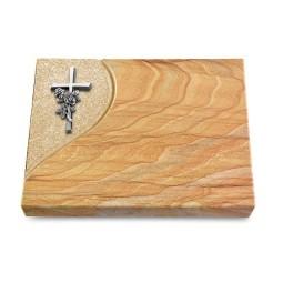 Grabtafel Omega Marmor Folio Kreuz/Rose (Alu)
