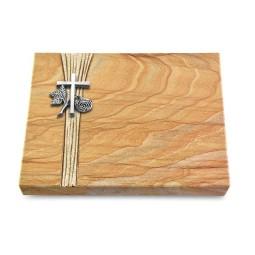 Grabtafel Omega Marmor Strikt Kreuz 1 (Alu)