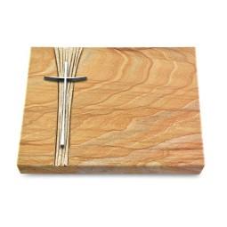 Grabtafel Omega Marmor Strikt Kreuz 2 (Alu)