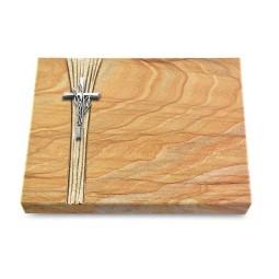 Grabtafel Omega Marmor Strikt Kreuz/Ähren (Alu)