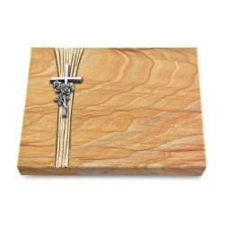 Grabtafel Omega Marmor Strikt Kreuz/Rose (Alu)