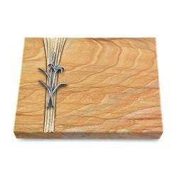 Grabtafel Omega Marmor Strikt Lilienzweig (Alu)