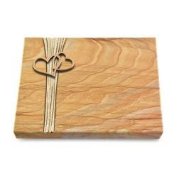Grabtafel Omega Marmor Strikt Herzen (Bronze)