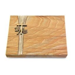 Grabtafel Omega Marmor Strikt Kreuz 1 (Bronze)
