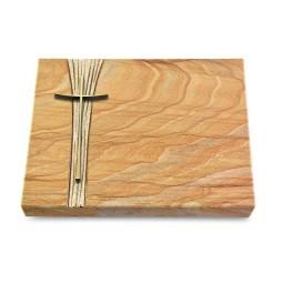 Grabtafel Omega Marmor Strikt Kreuz 2 (Bronze)