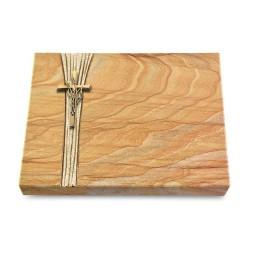 Grabtafel Omega Marmor Strikt Kreuz/Ähren (Bronze)