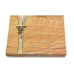Grabtafel Omega Marmor Strikt Kreuz/Rose (Bronze)