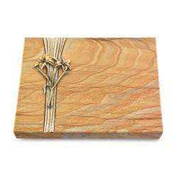 Grabtafel Omega Marmor Strikt Lilie (Bronze)