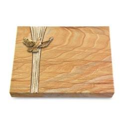 Grabtafel Omega Marmor Strikt Taube (Bronze)