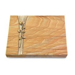 Grabtafel Omega Marmor Strikt Rose 12 (Bronze)