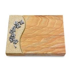 Grabtafel Omega Marmor Wave Efeu (Alu)